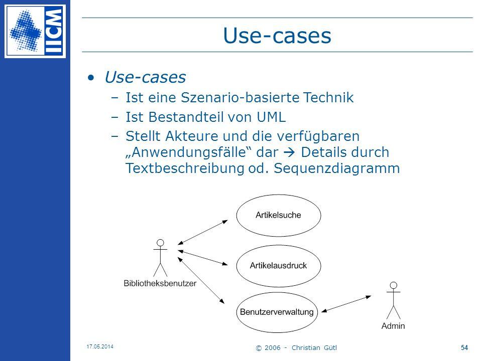 Use-cases Use-cases Ist eine Szenario-basierte Technik