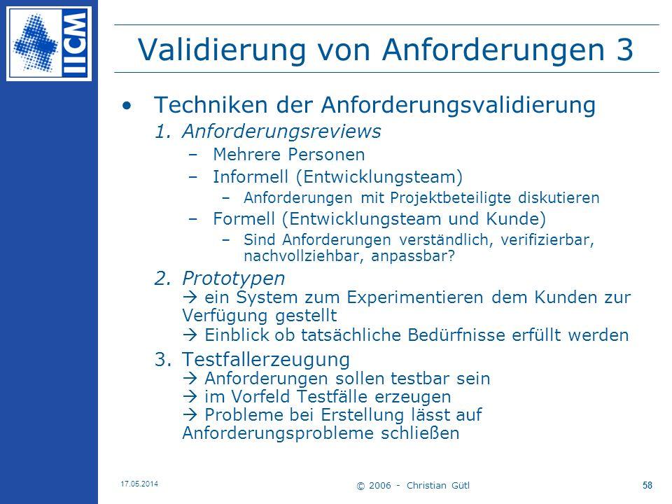 Validierung von Anforderungen 3