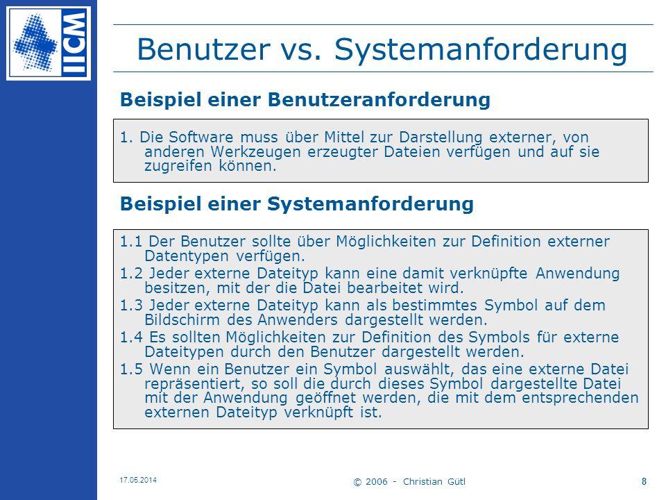 Benutzer vs. Systemanforderung