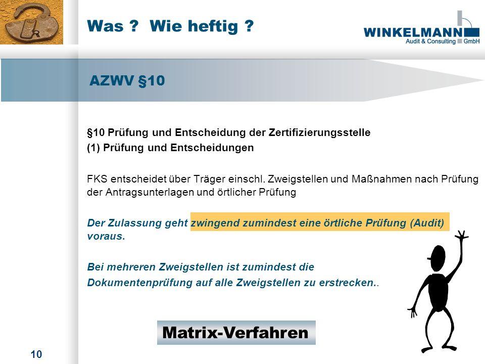 Was Wie heftig Matrix-Verfahren AZWV §10