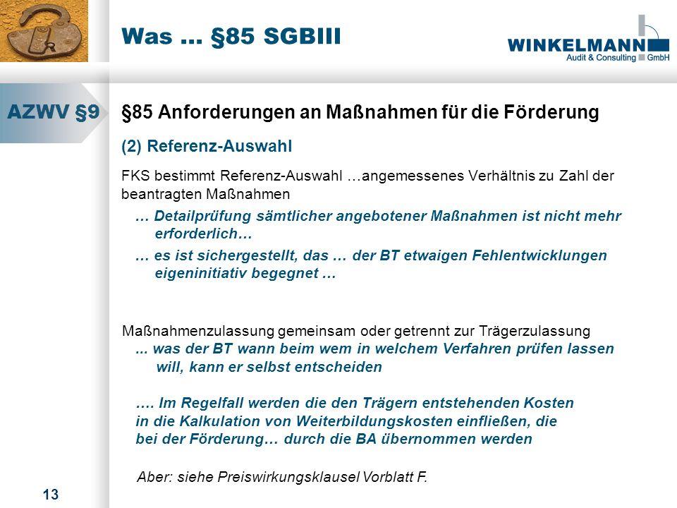 Was ... §85 SGBIII AZWV §9. §85 Anforderungen an Maßnahmen für die Förderung. (2) Referenz-Auswahl.