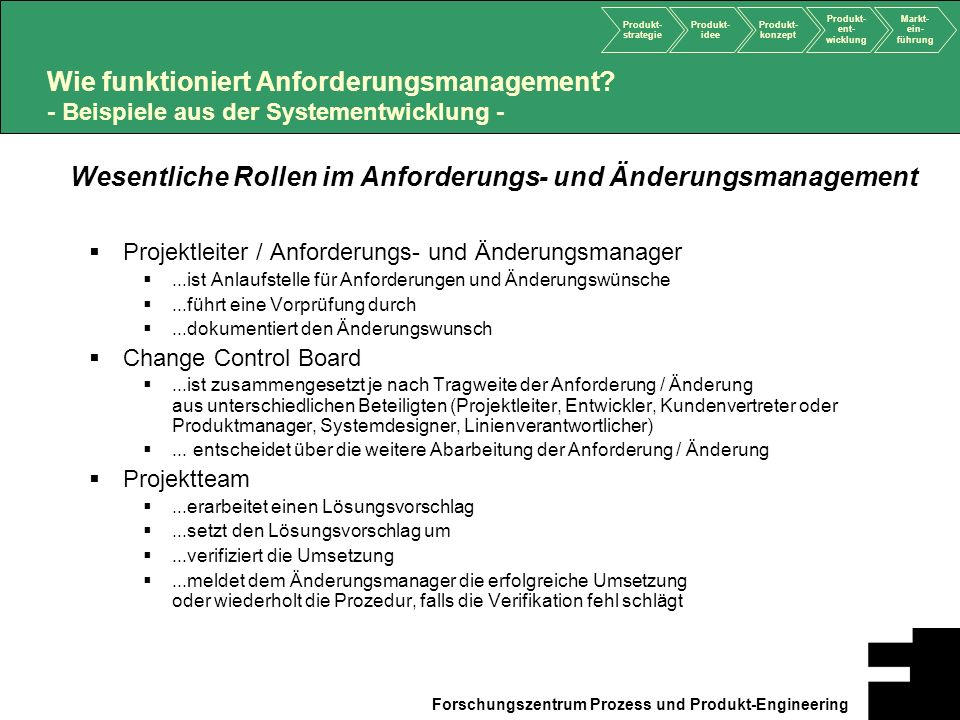 Wesentliche Rollen im Anforderungs- und Änderungsmanagement
