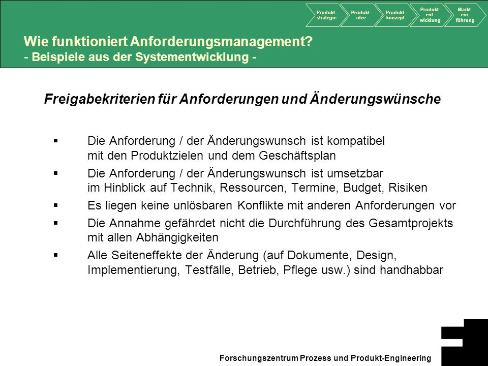 Freigabekriterien für Anforderungen und Änderungswünsche