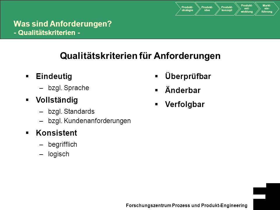 Was sind Anforderungen - Qualitätskriterien -