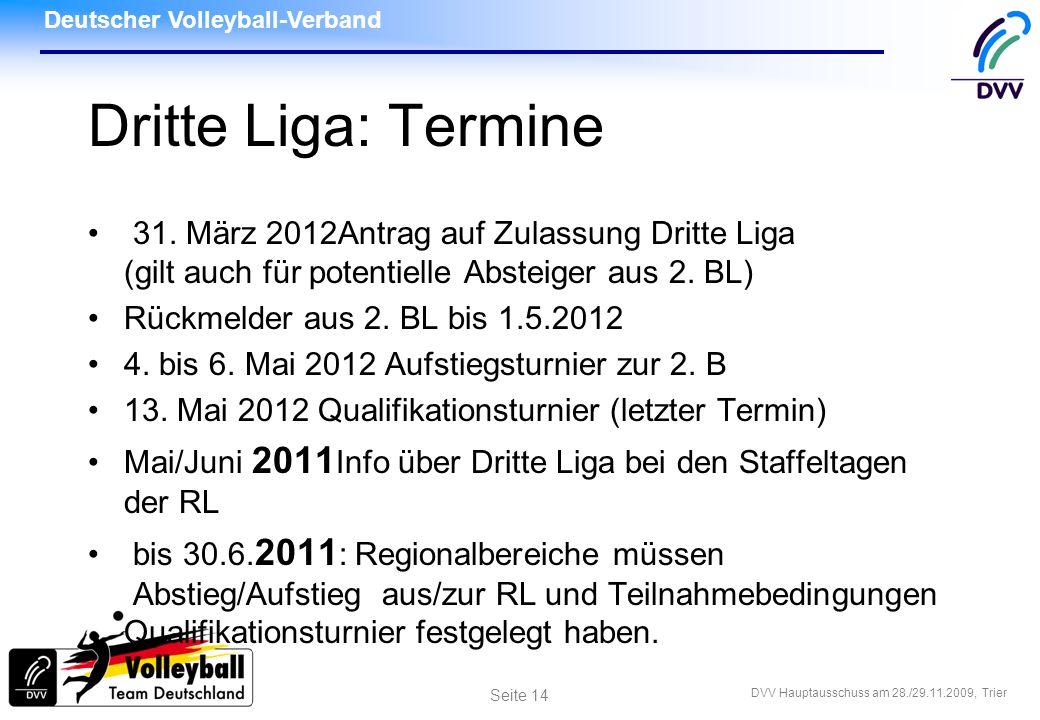 Dritte Liga: Termine 31. März 2012Antrag auf Zulassung Dritte Liga (gilt auch für potentielle Absteiger aus 2. BL)