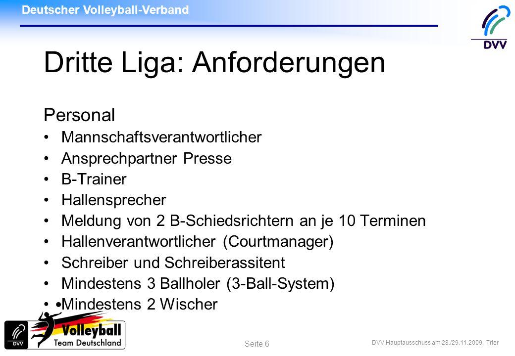 Dritte Liga: Anforderungen