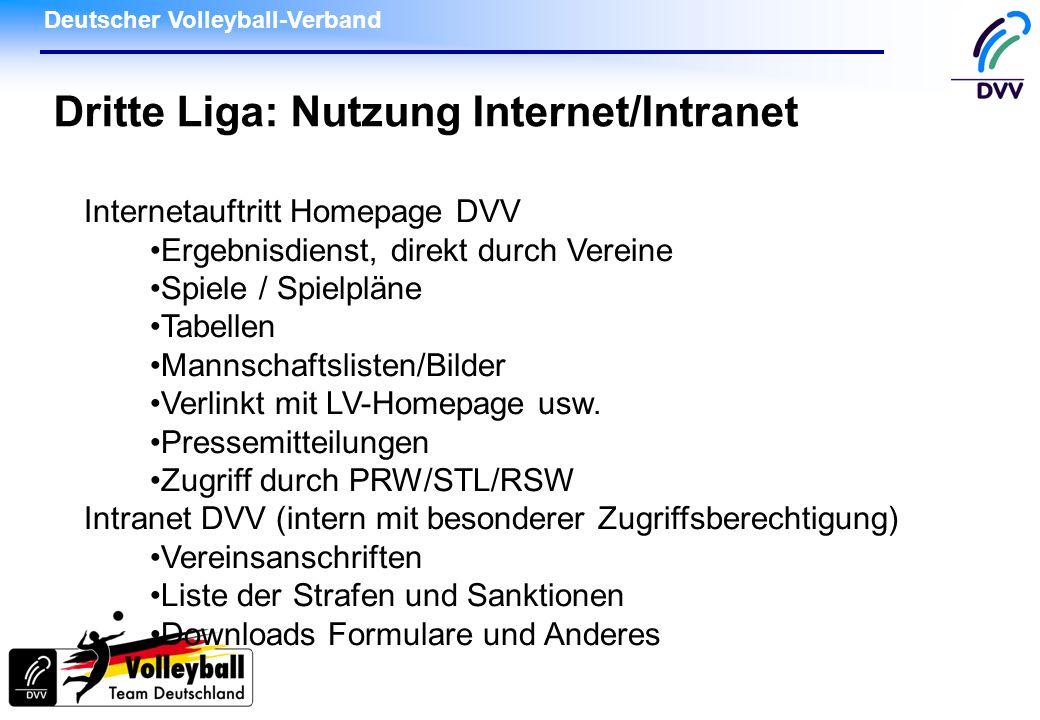 Dritte Liga: Nutzung Internet/Intranet