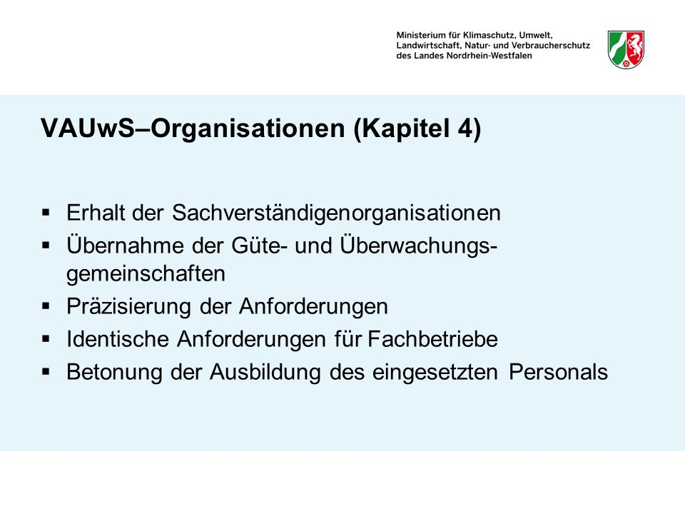 VAUwS–Organisationen (Kapitel 4)