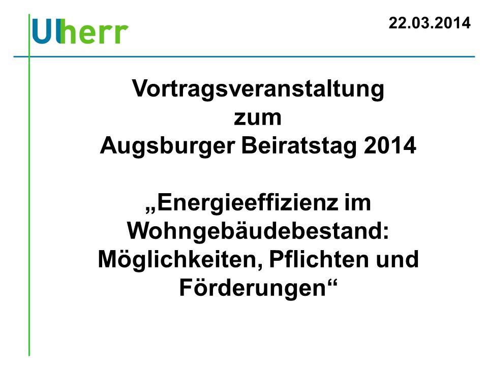 Vortragsveranstaltung Augsburger Beiratstag 2014