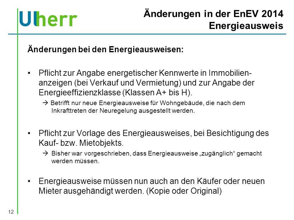 Änderungen in der EnEV 2014 Energieausweis