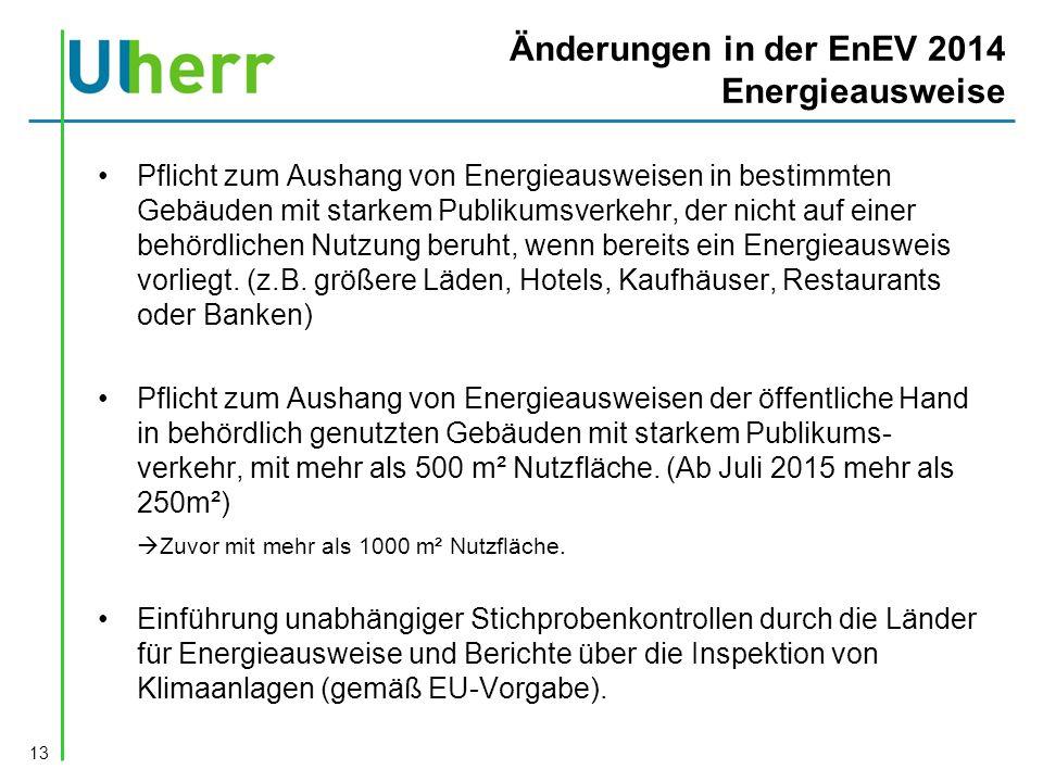 Änderungen in der EnEV 2014 Energieausweise