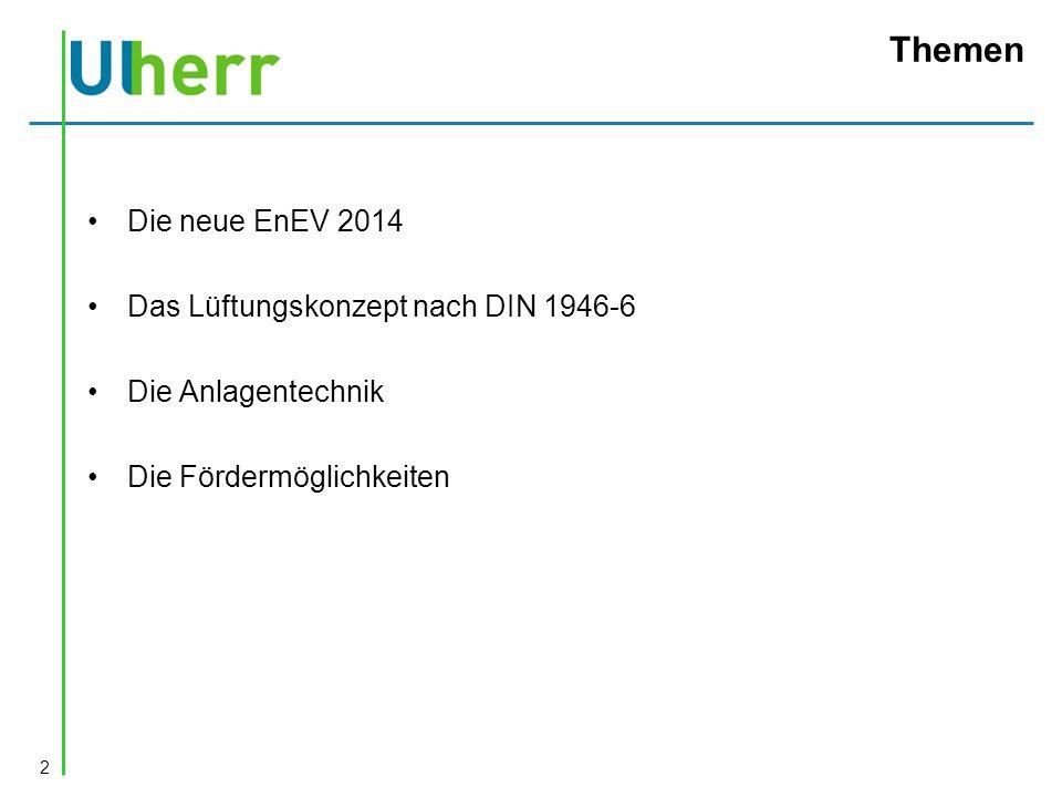 Themen Die neue EnEV 2014 Das Lüftungskonzept nach DIN 1946-6