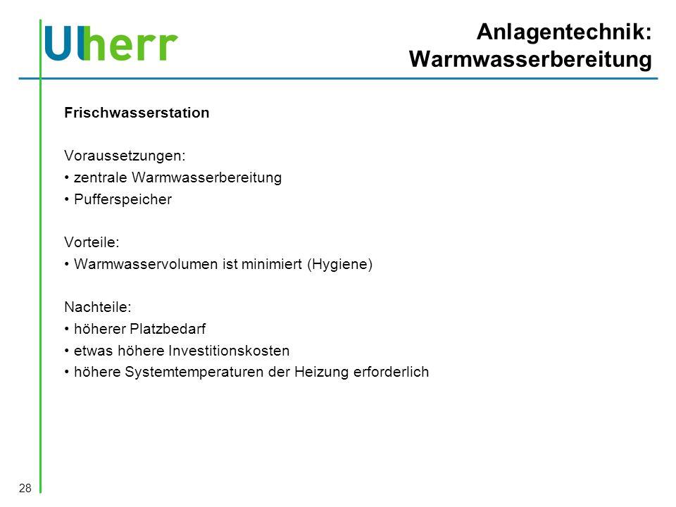Anlagentechnik: Warmwasserbereitung