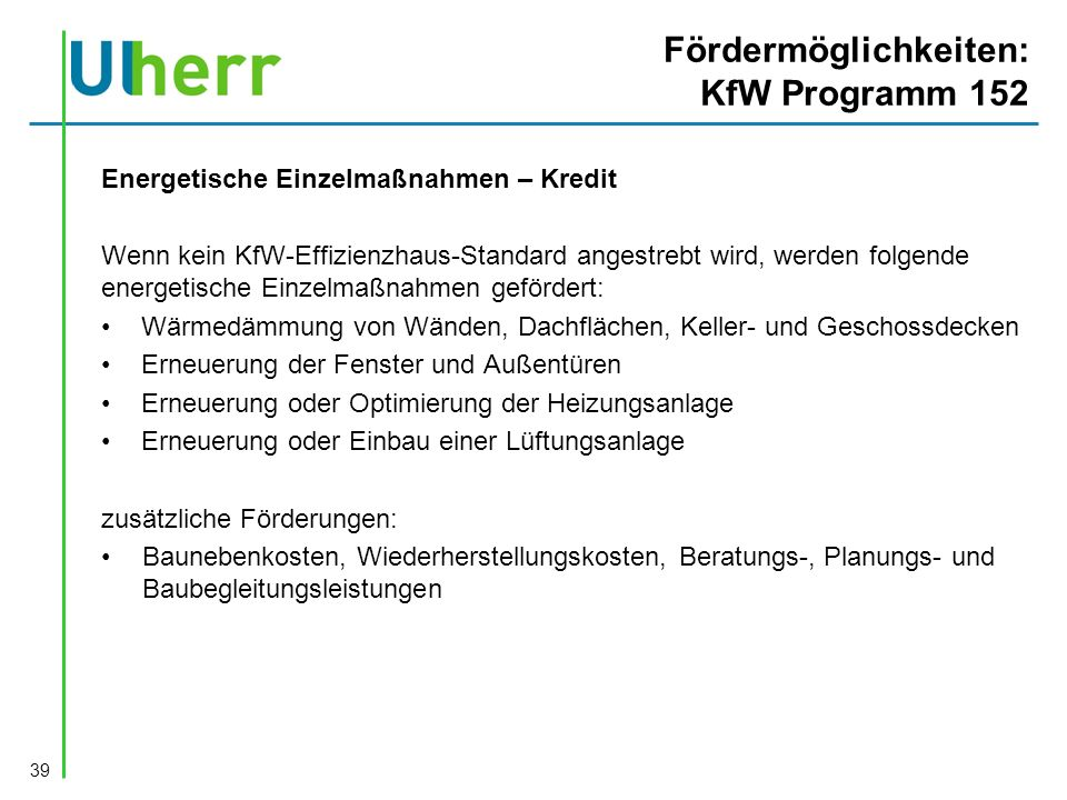 Fördermöglichkeiten: KfW Programm 152