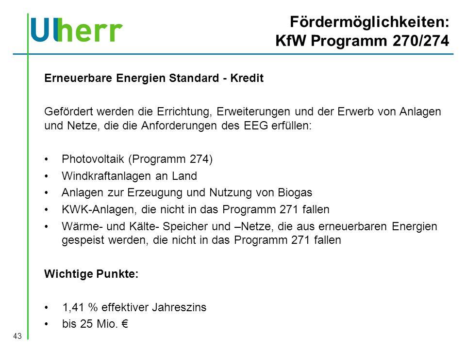 Fördermöglichkeiten: KfW Programm 270/274