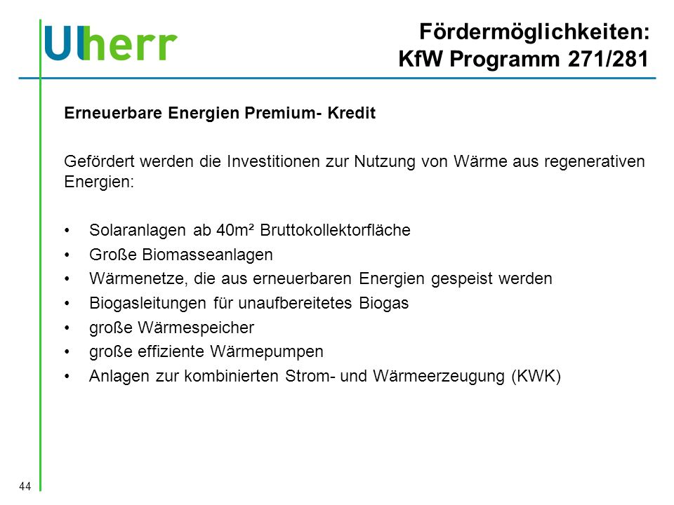 Fördermöglichkeiten: KfW Programm 271/281