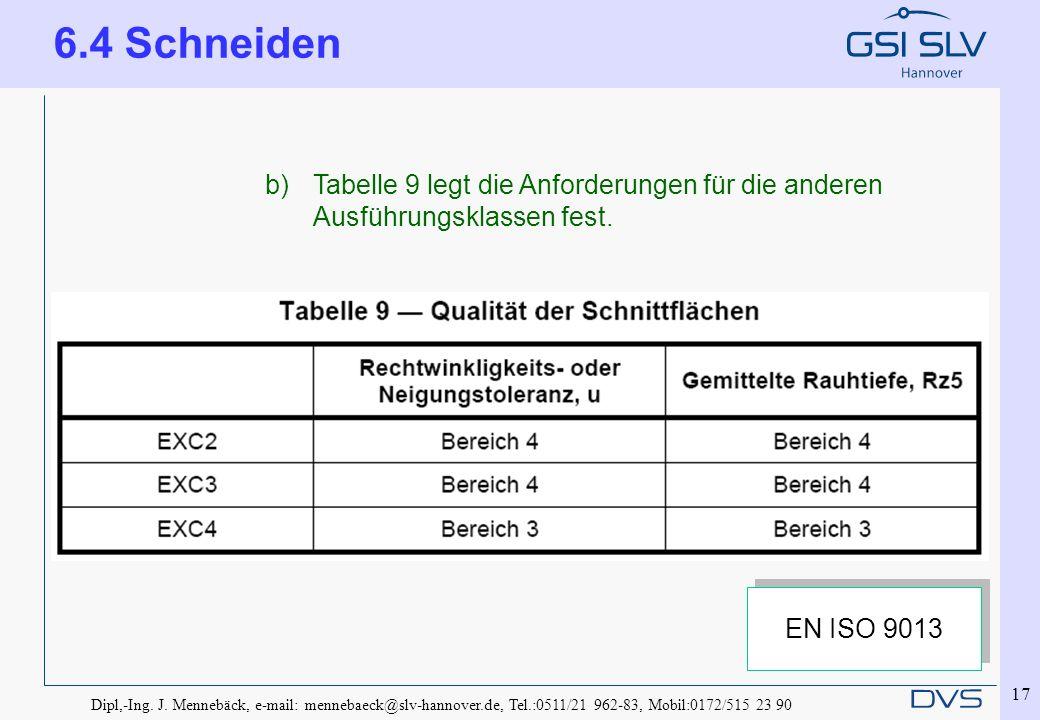6.4 Schneiden Tabelle 9 legt die Anforderungen für die anderen Ausführungsklassen fest. EN ISO 9013.