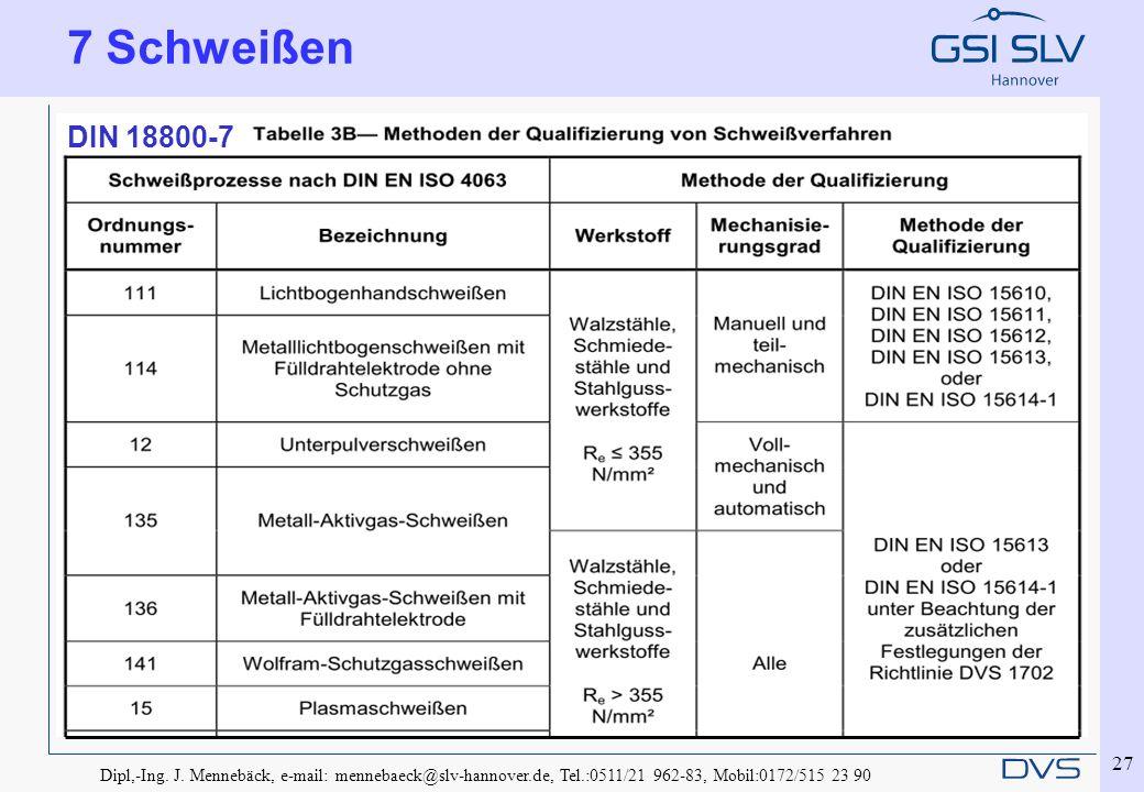 7 Schweißen DIN 18800-7. Dipl,-Ing. J.