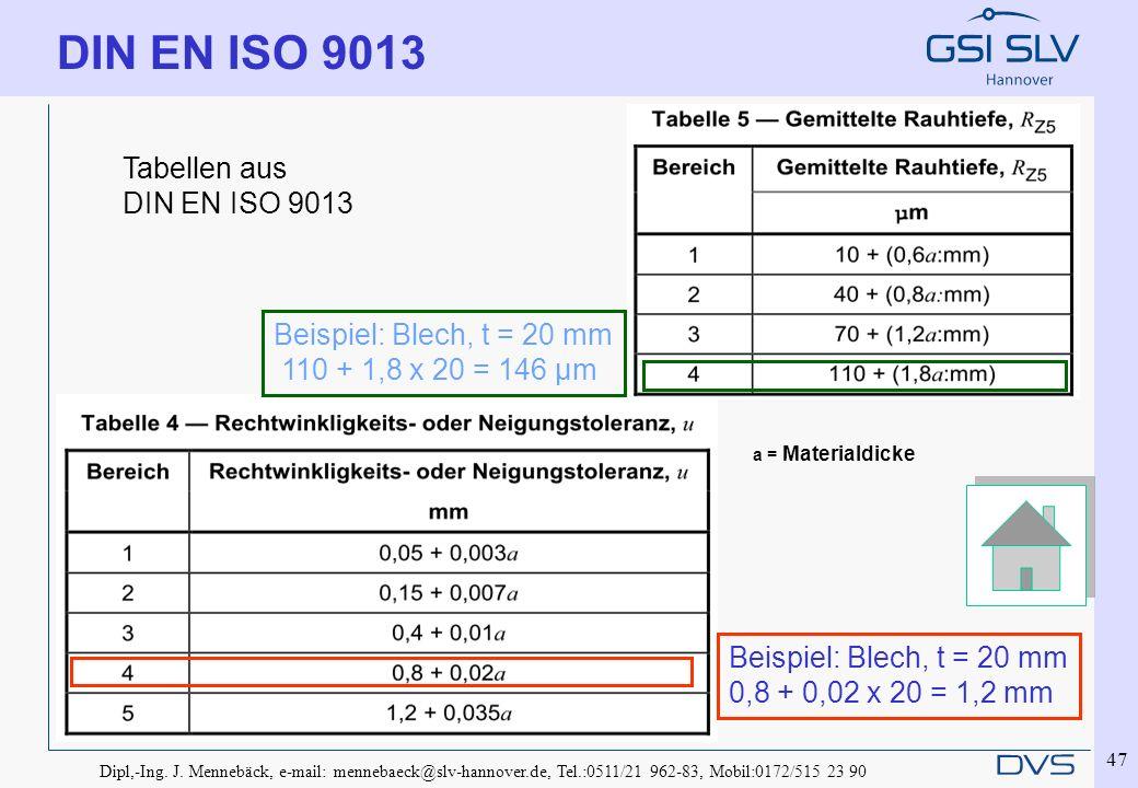 DIN EN ISO 9013 Tabellen aus DIN EN ISO 9013