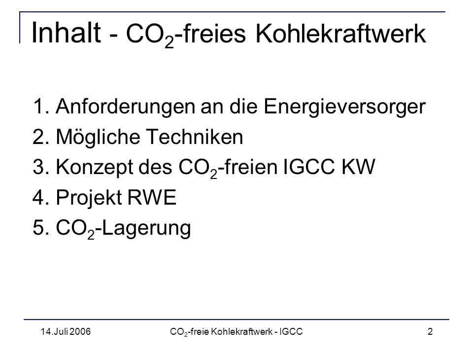 Inhalt - CO2-freies Kohlekraftwerk