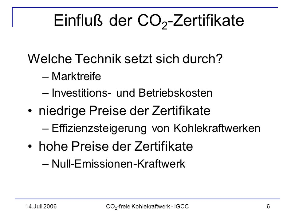Einfluß der CO2-Zertifikate