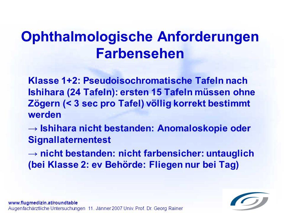 Ophthalmologische Anforderungen Farbensehen