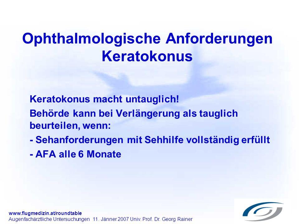Ophthalmologische Anforderungen Keratokonus