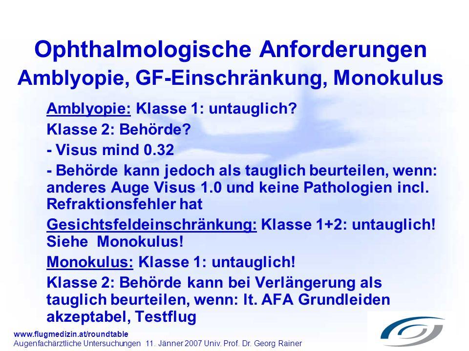 Ophthalmologische Anforderungen Amblyopie, GF-Einschränkung, Monokulus