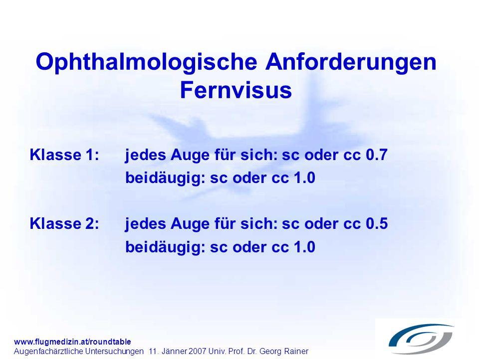 Ophthalmologische Anforderungen Fernvisus