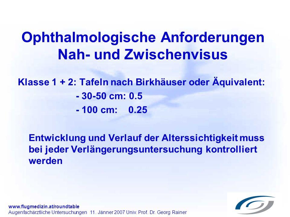 Ophthalmologische Anforderungen Nah- und Zwischenvisus