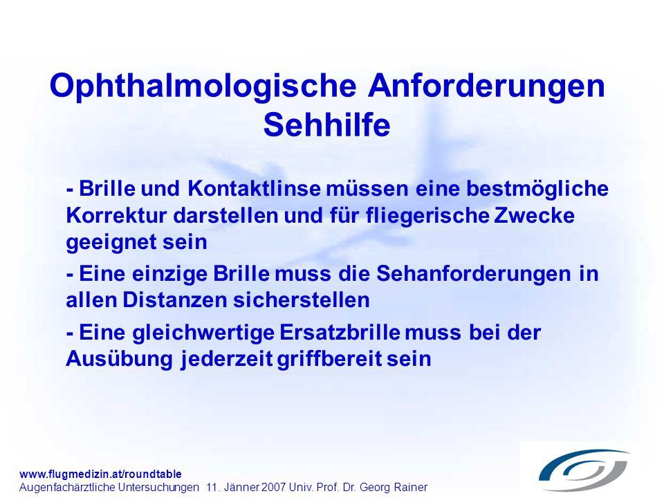Ophthalmologische Anforderungen Sehhilfe