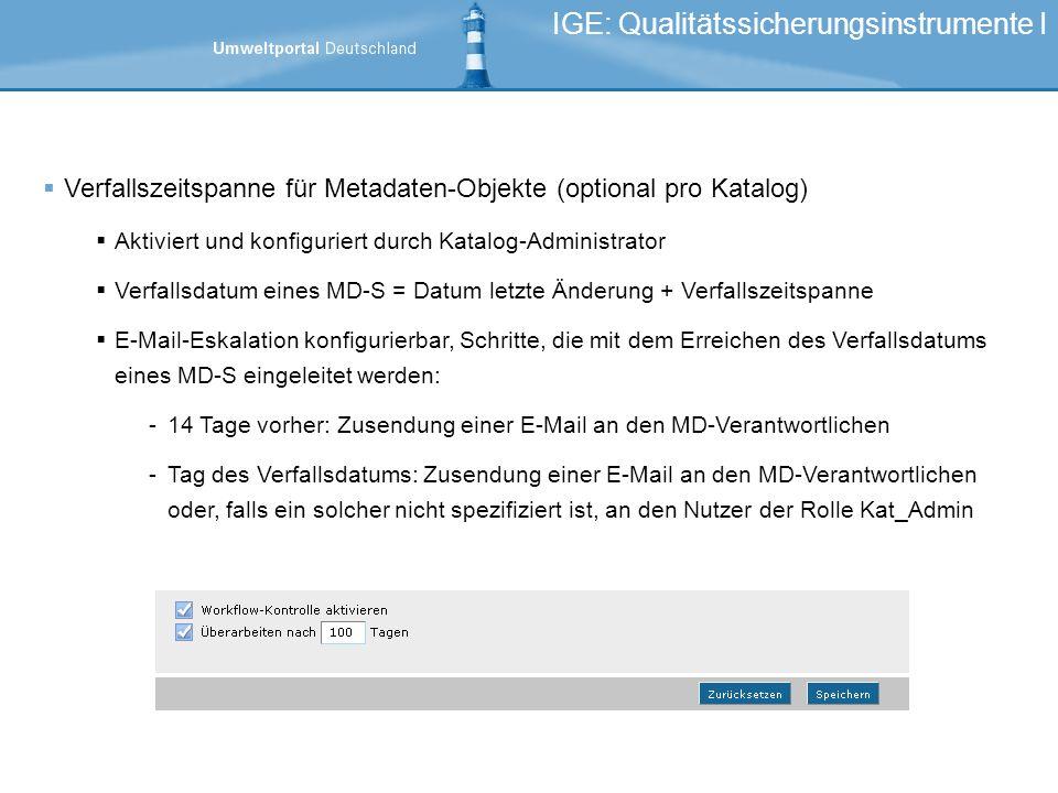 IGE: Qualitätssicherungsinstrumente I