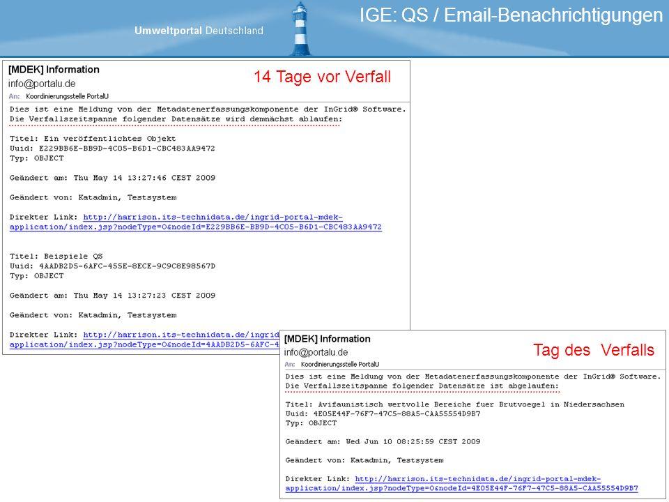 IGE: QS / Email-Benachrichtigungen