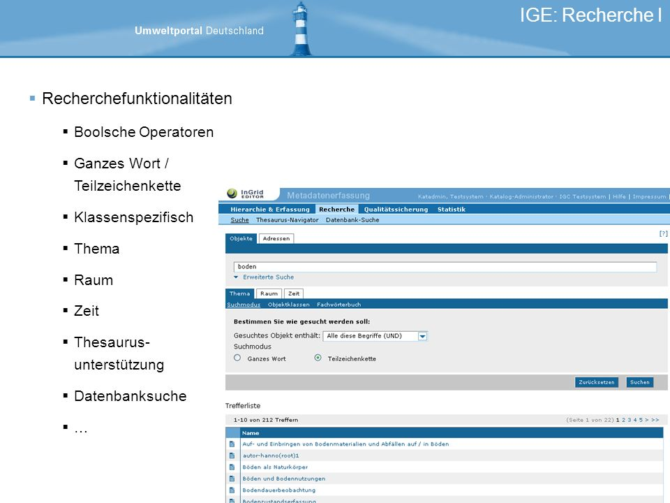 IGE: Recherche I Recherchefunktionalitäten Boolsche Operatoren