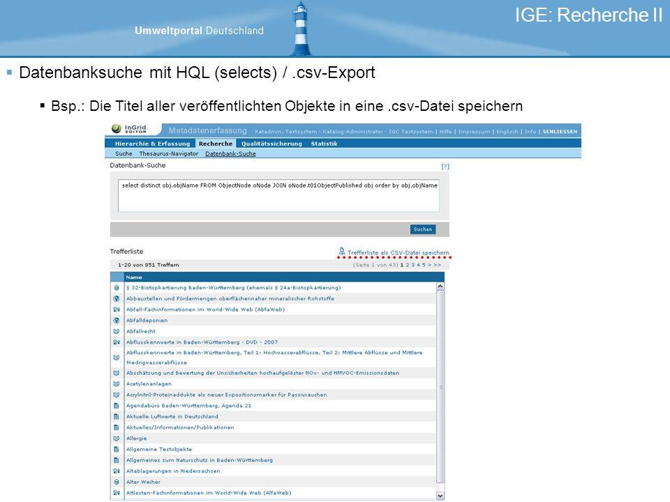 IGE: Recherche II Datenbanksuche mit HQL (selects) / .csv-Export