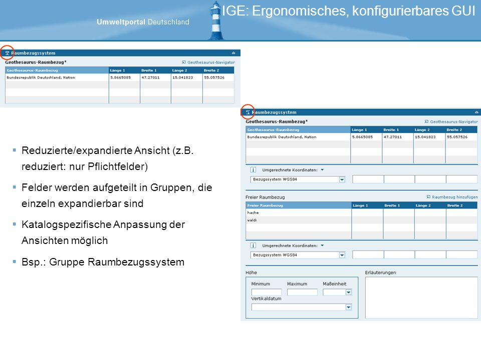IGE: Ergonomisches, konfigurierbares GUI