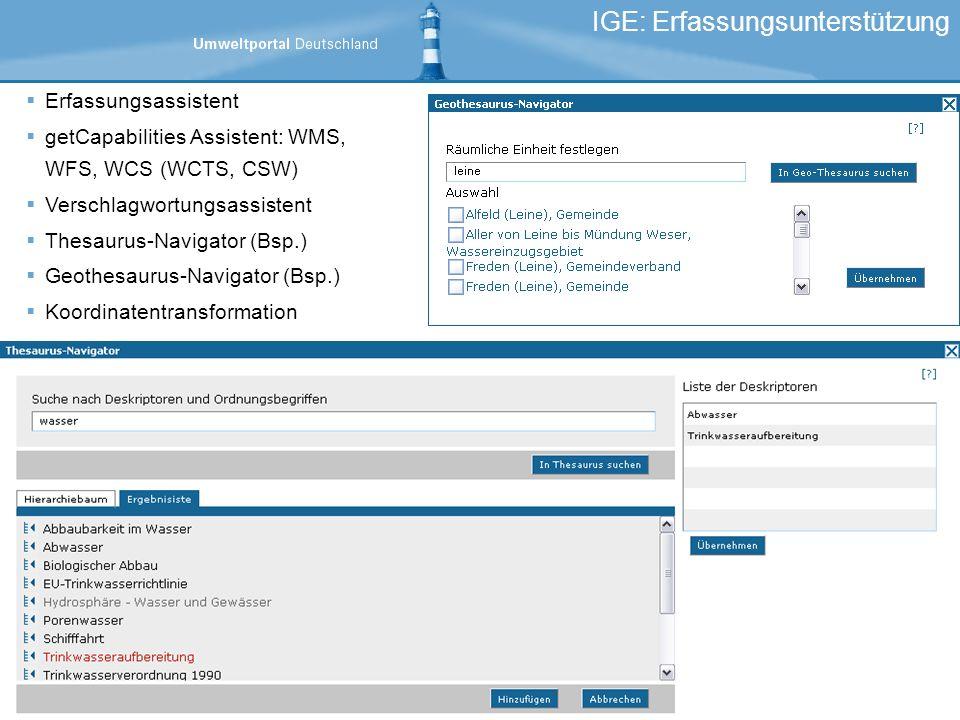 IGE: Erfassungsunterstützung