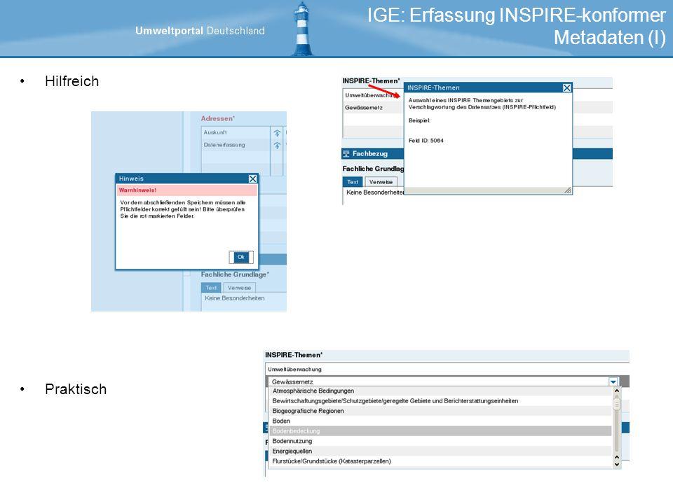 IGE: Erfassung INSPIRE-konformer Metadaten (I)
