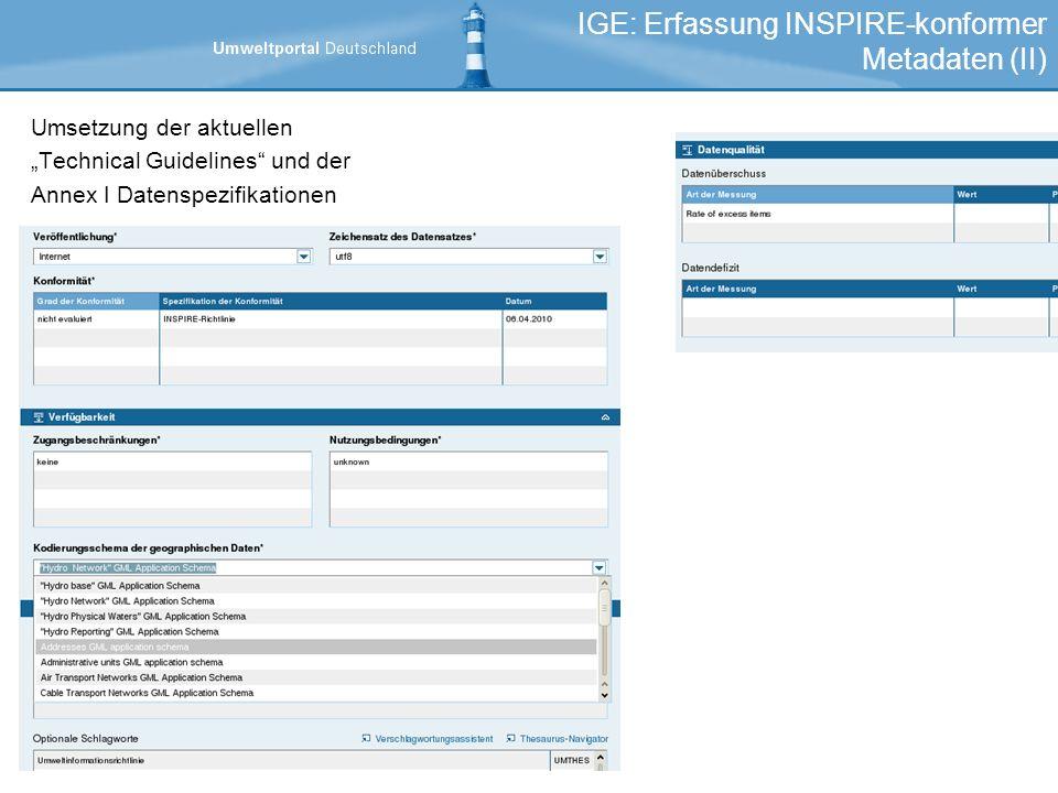 IGE: Erfassung INSPIRE-konformer Metadaten (II)
