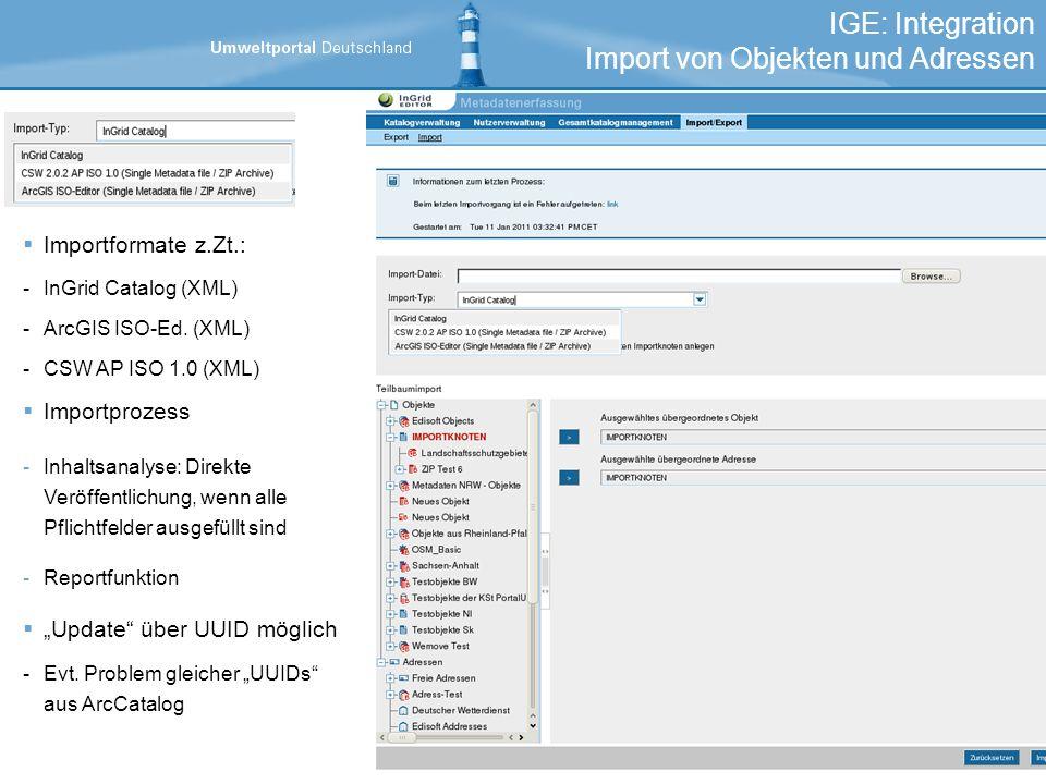 IGE: Integration Import von Objekten und Adressen