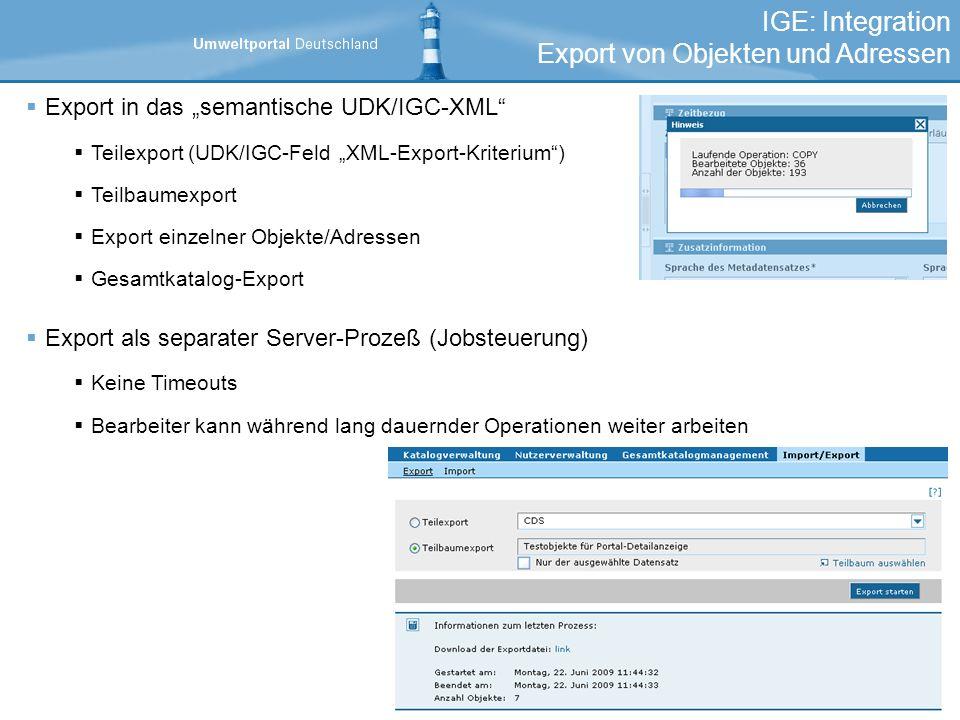Export von Objekten und Adressen