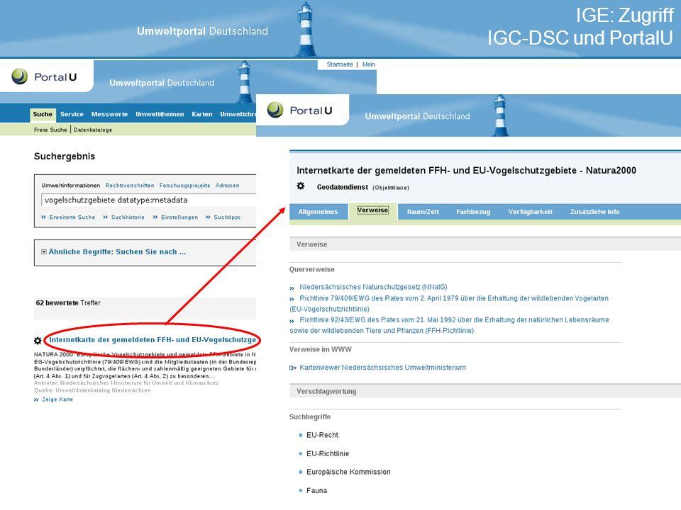 IGE: Zugriff IGC-DSC und PortalU