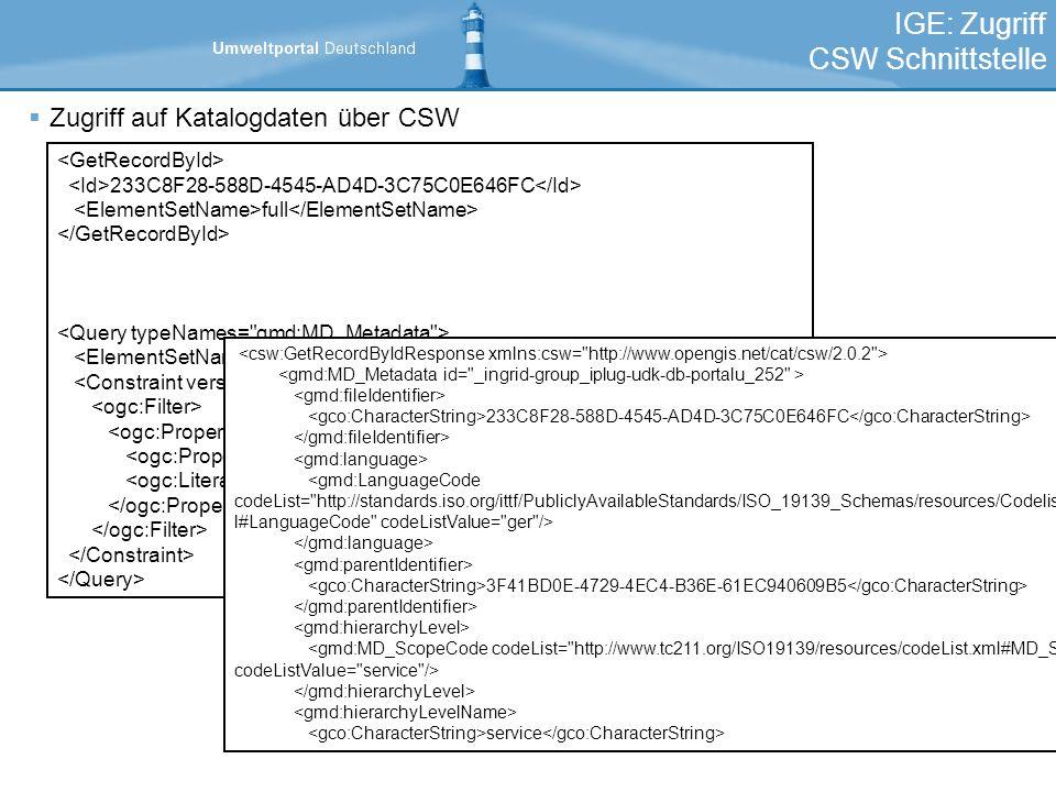 IGE: Zugriff CSW Schnittstelle Zugriff auf Katalogdaten über CSW