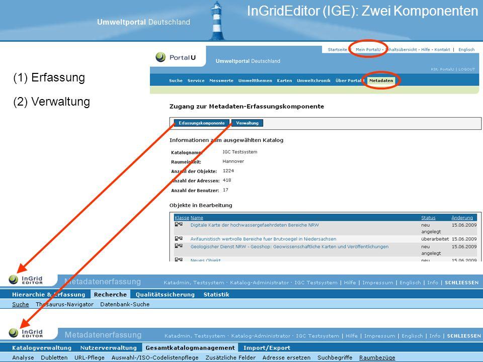 InGridEditor (IGE): Zwei Komponenten