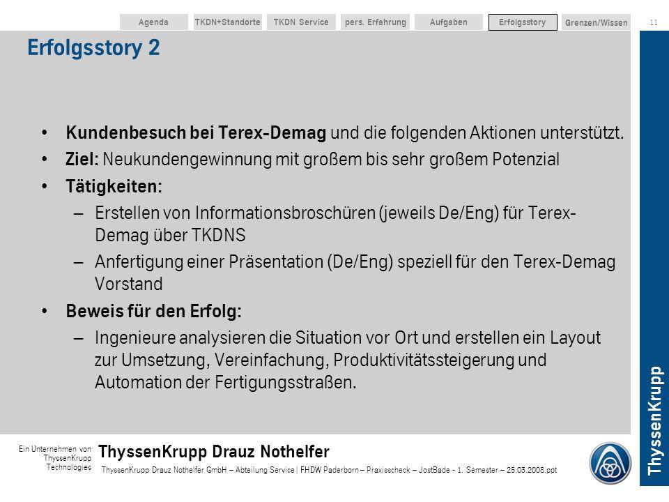 Erfolgsstory 2 Kundenbesuch bei Terex-Demag und die folgenden Aktionen unterstützt. Ziel: Neukundengewinnung mit großem bis sehr großem Potenzial.