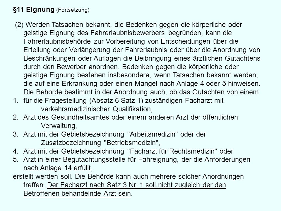 §11 Eignung (Fortsetzung)