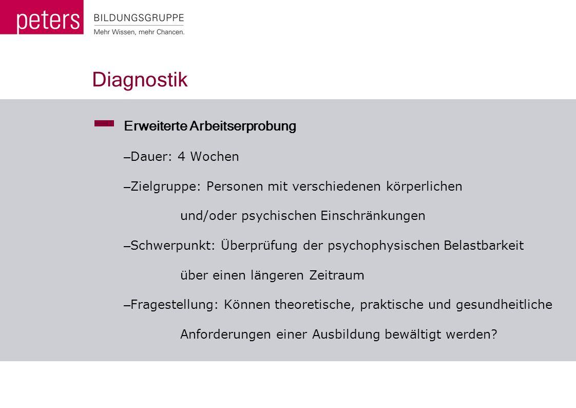 Diagnostik Erweiterte Arbeitserprobung Dauer: 4 Wochen