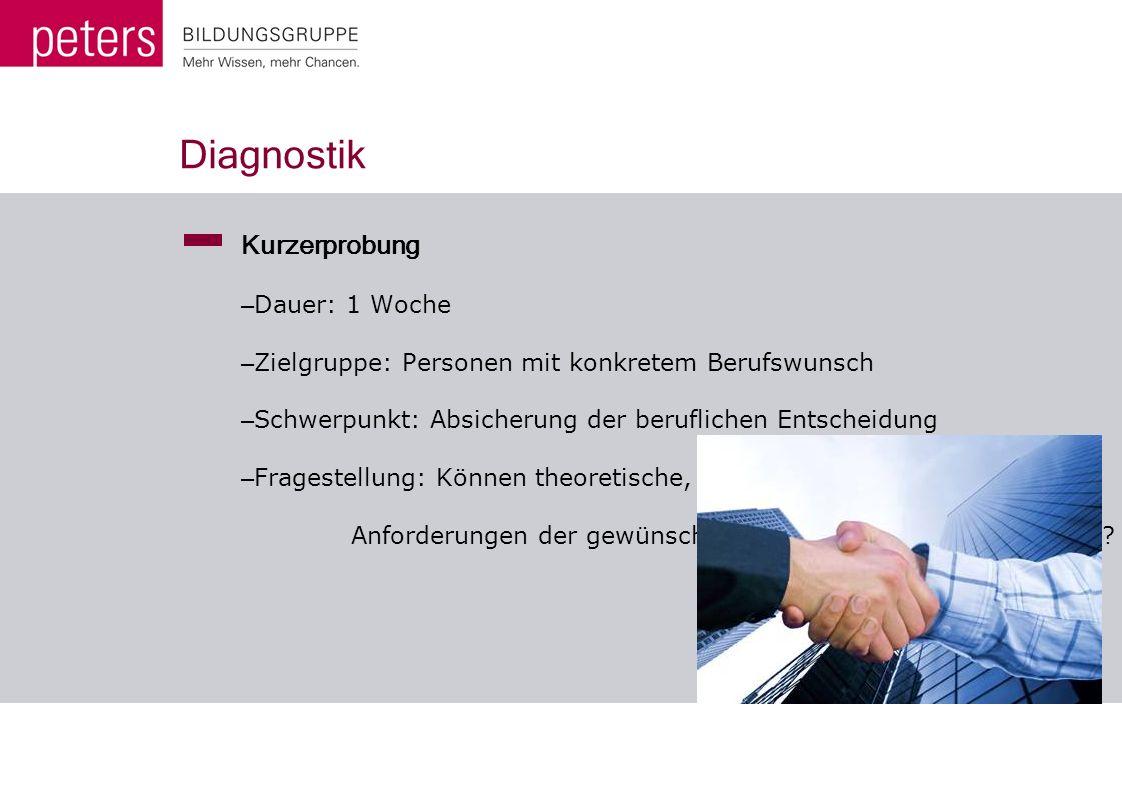 Diagnostik Kurzerprobung Dauer: 1 Woche
