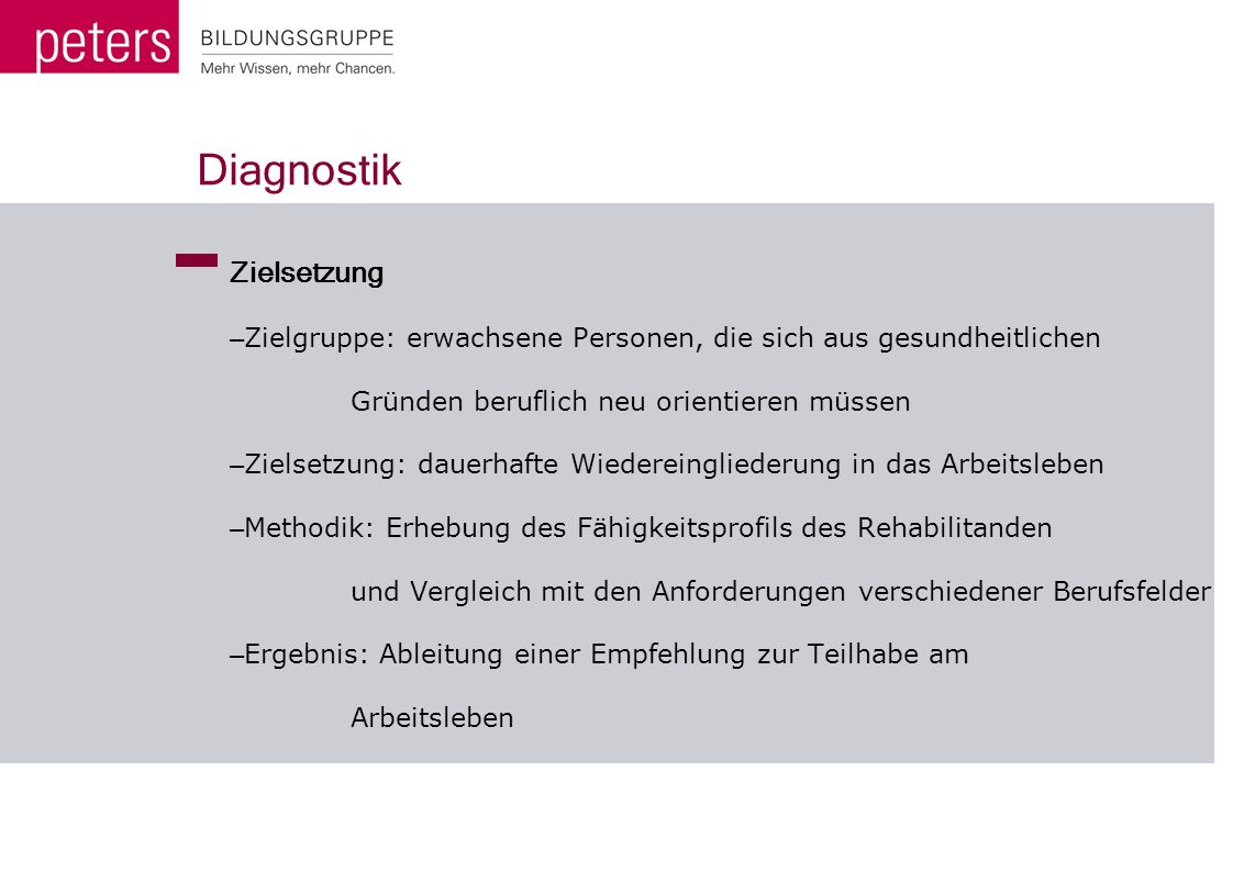 Diagnostik Zielsetzung