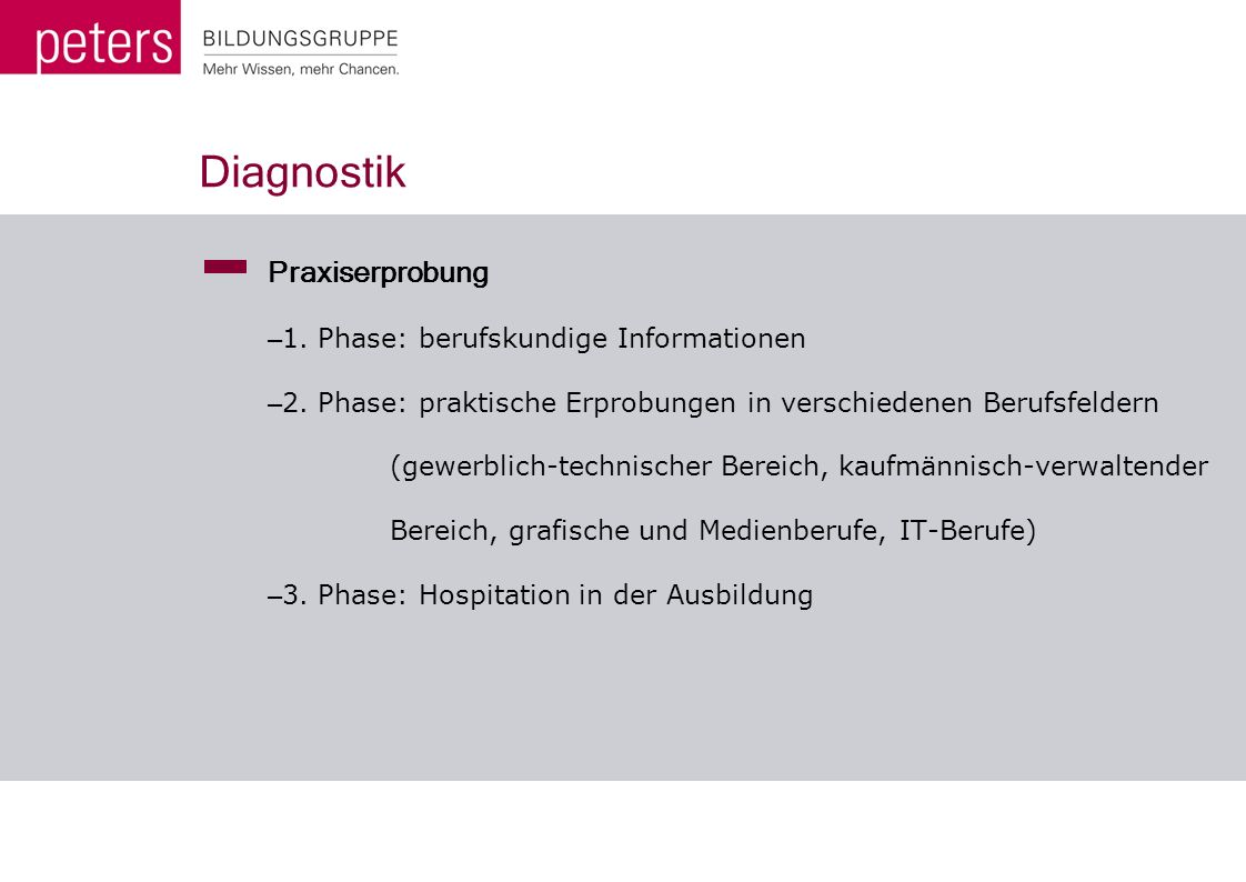 Diagnostik Praxiserprobung 1. Phase: berufskundige Informationen